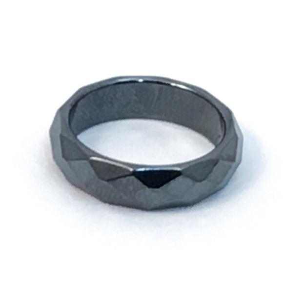 Jewelry - Faceted Hematite Band Hematite Ring